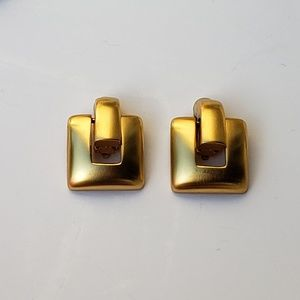 Jewelry - Gold Tone Square Dangle Earrings Copyright C